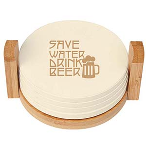 4 PIECE COASTER SET WITH BAMBOO HOLDER