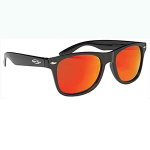 MIRRORED LENS MALIBU SUNGLASSES, BLACK FRAME