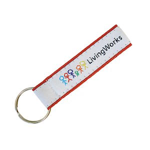 FULL COLOR RIBBON TRIMMED KEY FOBS