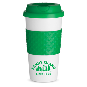 PLASTIC TO GO CUP WITH SILICONE BAND, 19 OZ