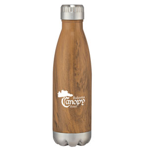 24 HR WOODGRAIN FLUTED VACUUM BOTTLE, 16 OZ